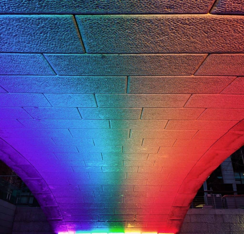LGBT rainbow under a bridge.